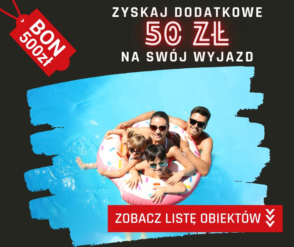 Zapłać bonem turystycznym online na Noclegi.pl i zyskaj dodatkowo 50 zł zniżki